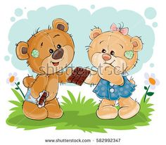 Vector illustration of funny teddy bear sweet tooth treats his girlfriend chocolate