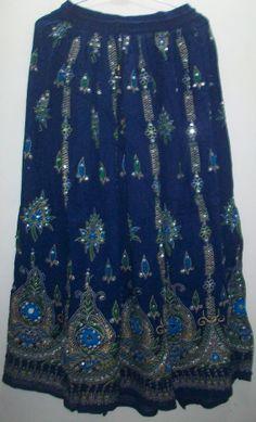 Blue Sequin Lengha Belly Dance from OnlineIndianShop