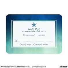 Watercolor Ocean Starfish Beach Wedding RSVP