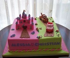 Boy Girl Twin Birthday Theme | Twins birthday cake - castle and cars | Flickr - Photo Sharing!