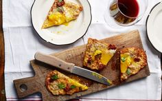 Rich, spicy and full of flavour, this flatbread with Sobrassada sausage, Mahón   cheese, onion confiture and egg is a treat