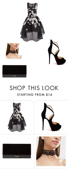 """""""I would love to wear this for homecoming"""" by samanthap234 ❤ liked on Polyvore featuring Jovani, Christian Louboutin and Balmain"""