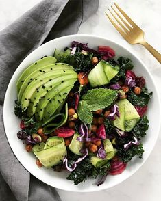 Avocado and warm roasted chick pea salad