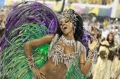 Cris Vianna queen of the drums of Grande Rio dances during the samba school's parade at Rio de Janeiro's carnival on on March 07 2011 in Rio de...
