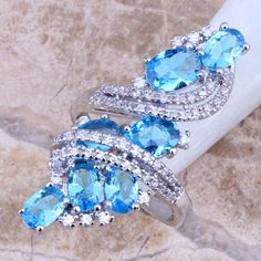 Sky Blue & White Created Topaz 925 Sterling Silver Ring For Women Size 5 / 6 / 7 / 8 / 9 / 10 / 11 / 12 S0177