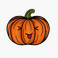 'Cute Halloween Pumpkin Drawing 2- White Background' Glossy Sticker by Arthemeral
