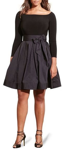 Lauren Ralph Lauren Jersey & Taffeta Party Dress (Plus Size)