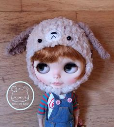 Mixed beige dog puppy hat helmet for Blythe or Pullip ask me for other sizes