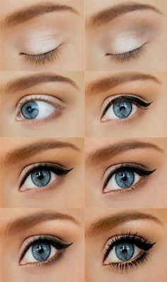 .trying this tomorrow :) pigmented white eyeshadow with a touch of bronze in the crease and edges finished with a black eyeliner.