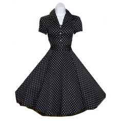 Black and White Polka Dot 40s 50s Vintage Style Swing Rockabilly Retro Pinup Dress - love this classic dress!