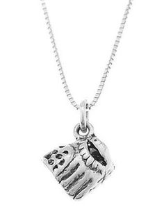 Sterling Silver Baseball Glove / Softball Glove Charm With Box Chain Necklace