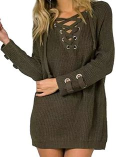 edc4f4c4d80 Joeoy Women s Army Green Lace Up Front V Neck Long Sleeve Knit Sweater  Dress Top-M. One Size fit up to US Material  Can be worn as mini sweater  dress or ...