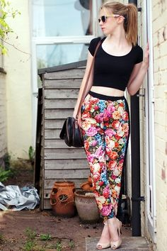 New Look Crop Top, Forever 21 Patterned Sunglasses, Poppy Lux Floral Trousers, Bally Bag, Carvela Nude Peep Toe Heels