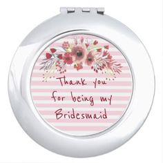 Thank you for being my Bridesmaid Mirror Compact - wedding party gifts equipment accessories ideas