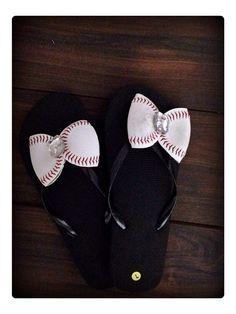 Baseball Bow Flip Flops by Lagniappe985 on Etsy