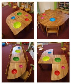 A modular Tinker Table designed by Romy Kühne Design for Day care organisation Doomijn in Zwolle, The Netherlands Care Organization, Decoration Piece, Small Furniture, Interior And Exterior, Netherlands, Table, Design, Day, Home Decor