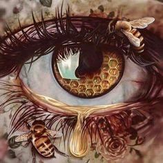 Other Perspectives by Elena Masci - - Fantasy Art - Fantasy Kunst, Fantasy Art, Honey Bee Tattoo, Eyes Artwork, Tatoo Henna, Eye Painting, Bee Art, Art Drawings Sketches, Queen Bees