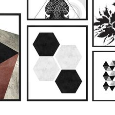 Printable Geometric Wall Art Hexagon Print by KamilahHomeDesigns