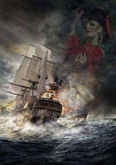 Pirate Ship in stormy seas. Pirate Art, Pirate Life, Pirate Ships, Bateau Pirate, Old Sailing Ships, Ship Paintings, Ghost Ship, Wooden Ship, Black Sails
