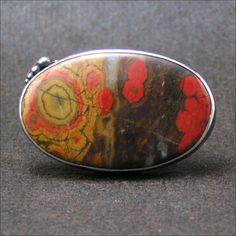 Metalsmith Jewelry Designs - Big Morgan Hill Poppy Jasper Cocktail Ring in Copper and Silver