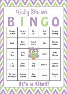 Owl Baby Bingo Cards - Printable Download - Prefilled - Baby Shower Game for Girl - Green & Purple