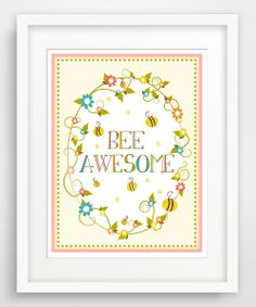 Items similar to Children's Wall Art / Nursery Decor Bee Awesome print by Finny and Zook on Etsy Nursery Design, Nursery Wall Art, Nursery Decor, Childrens Wall Art, Bee Party, Move Mountains, Bees Knees, Little Girl Rooms, Baby Decor