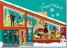 Mid Century Modern House Holiday Card  Mid Century Modern House Holiday Card features a gathering of swanky friends celebrating in a modernist home on this mid century Christmas card. Classic Modern furniture and a fireplace creates a fun scene. Available as a great party invite, order through our Party Invitations page.  8 cards & envelopes $12.00 | Folded Card Size 4.5″x 6.25″