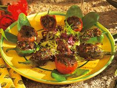 "#Petit farcis (Provençal stuffed vegetables) - The vegetables typically ""farcied"" (stuffed) in Provence are aubergines, courgette, onion, peppers and tomatoes and sometimes potatoes, stuffed with seasoned minced meat and slowly oven-cooked."