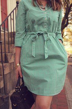 Green gingham shirt dress.