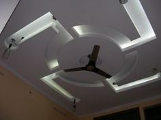 Bedroom False Ceiling Design - Indian Swastik (White LEDs)