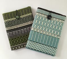 Barbara Pickel - iPad cases in wool handwoven rosepath with wool felt lining.