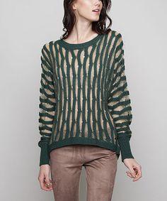 Loving this Sea Green & Metallic Contrast Dolman Sweater - Women on #zulily! #zulilyfinds
