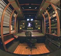 STUDIO IN A BUS. Create a traveling professional recording studio by buying an old Trailways or Greyhound or other vacation bus and converting it into music space, complete with sound absorption panels. - DdO:) - http://www.pinterest.com/claxtonw/music-studio-stuff/ - MUSIC STUDIO STUFF - Of course, park away from the heavy traffic noise if pos! An EASY way to attract new clients nervous about finding strange buildings! Great pin via Jean-Pierre.