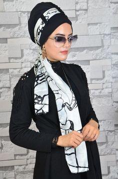 Siyah Beyaz Karışık Desenli Şal Bone Başörtüsü modası