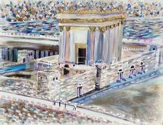 I wanted to depict it's holiness, spirituality, majestic ness - all of it!! With much effort and prayer, this painting that you're looking at, came forth. Then I found mother of pearl paint, which gave the Bais Hamikdash (Temple) the most ethereal feeling and it was complete. I added people walking, to inspire us. To make it real. May we be so fortunate to see this our real lives.
