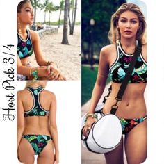 Floral Halter Bikini New floral halter bikini. Top can fit A or B cup with  molded removable padded cups. Bottoms  measures 13 inches across   ❌No Trades ❌No Brand ✅Fast shipping  ✅️Sold as complete set ⚠️Measure a swimsuit you own to compare. This is a European size, which is smaller than US sizing charts Swim Bikinis