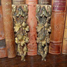 Antique Pair French Ormolu Bronze Pediments Furniture Mount Hardware Oak Leaves Acorns Design by VintageFleaFinds on Etsy