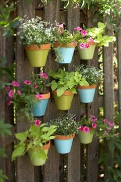I like the idea of painting the terra cotta pots.... could hang them with macrame or tie them with wire?