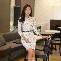Aliexpress.com: Comprar Primavera verano moda mujeres imprimir vestidos para el espectáculo de trabajo blanco camiseta ocasional del vestido de la oficina con el cinturón de mujer estilo coreano hasta la rodilla de vestido de pequeña fiable proveedores en Kidmall Online Store