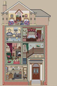 Stickvorlage Kreuzstich Puppenhaus Zimmer Küche Bad in Nordrhein-Westfalen - Hattingen | Basteln, Handarbeiten und Kunsthandwerk | eBay Kleinanzeigen