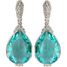 Judith Ripka Bermuda Pear-Cut Spinel Drop Earrings ($225) ❤ liked on Polyvore featuring jewelry, earrings, green, judith ripka, clip back earrings, judith ripka earrings, polish jewelry and green drop earrings