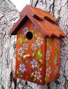 Outdoor wood Birdhouse/Nesting Box  Blue by Www.sadlergardencollections.com