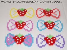 Perler bead bow strawberry fruit sprite by ArtworkByLiddles