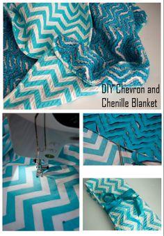 DIY Chevron and Chenille Blanket - http://diyideas4home.com/2014/01/diy-chevron-chenille-blanket/