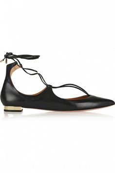 Aquazzura Christy Leather Point-Toe Flats with gold heel detail