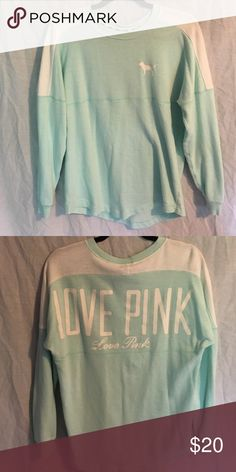 PINK spirit jersey Sweater like material. Great for leggings. Oversized PINK Victoria's Secret Tops Sweatshirts & Hoodies