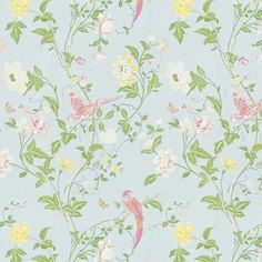 Summer Palace Duck Egg Cotton/Linen Fabric at Laura Ashley - Fabric for curtains Laura Ashley Usa, Floral Pattern Wallpaper, Wallpaper Patterns, Made To Measure Blinds, Summer Palace, Printed Curtains, Childrens Room Decor, Duck Egg Blue, Samar