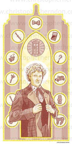 Saint Colin of Who Screen Print 11x17 Print by ChrisHerndonArt  on Etsy.com $25 Christopher Herndon Artwork Dr Who February 2015