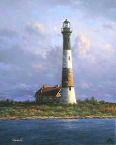 Fire Island Light lighthouse ocean pictures and art prints by Larry Dyke