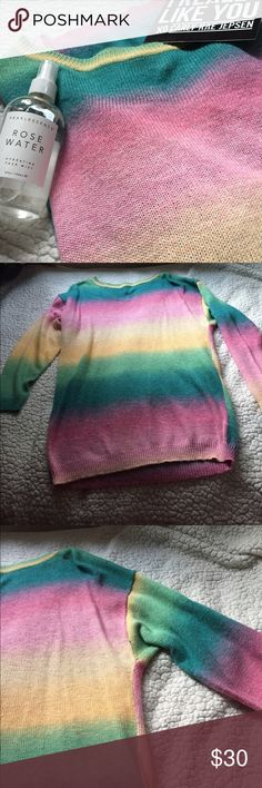 • euc pastel rainbow sweater • this vintage style sweater is AMAZING. totally on trend right now and is soft and slightly long. it's a size 10, but as i like the oversized look it fits perfectly. tucking it in results in the coziest ball of warm 🌼  features ombré style coloring with muted pastel pinks, greens, yellows, and blues. very unsure if i want to sell, so price firm. no defects, worn once.   * no trades please * ask questions! * smoke free/cat and dog friendly home H&M Sweaters Crew…